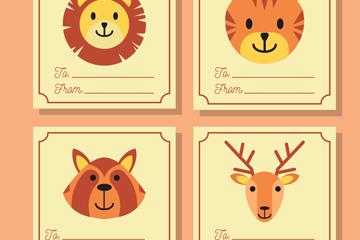 4款创意动物留言卡片矢量素材