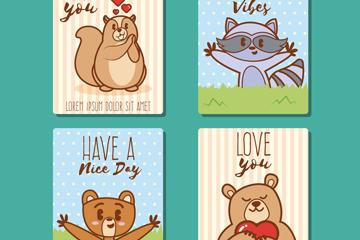 4款可爱动物爱心卡片矢量素材