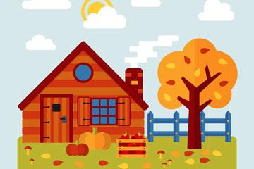 创意秋季小木屋和树木风景矢量图