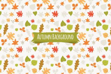 彩色秋季树叶无缝背景矢量素材
