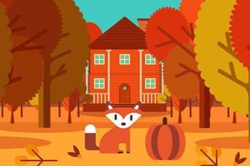 秋季树林里的房屋和狐狸矢量素材