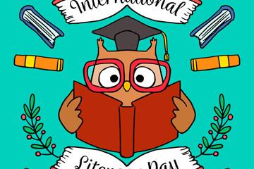 卡通国际扫盲日读书的猫头鹰矢量