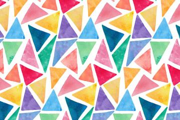 水彩绘三角形无缝背景矢量素材