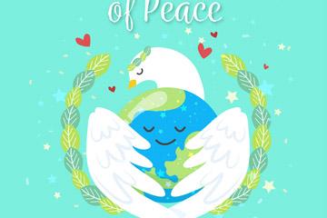 创意国际和平日怀抱地球的白鸽矢