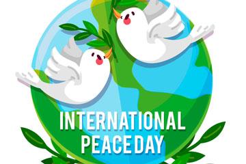卡通国际和平日白鸽和地球矢量图