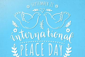 白色国际和平日白鸽艺术字矢量素