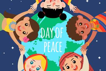 创意国际和平日拉手的儿童矢量素