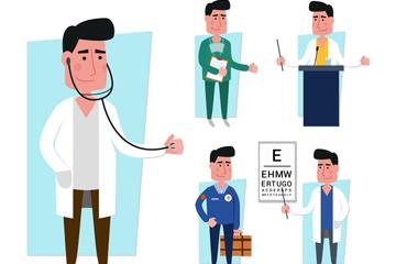 5款创意男医务人员设计矢量素材