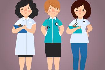 3款创意女医务人员矢量素材