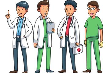 4款卡通男医务人员矢量素材