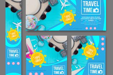 5款时尚度假促销卡片矢量梦之城娱乐