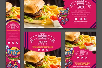 5款美味汉堡包店宣传卡片矢量素