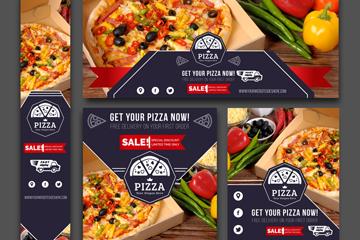 5款创意披萨店卡片矢量梦之城娱乐