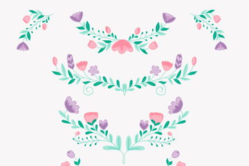 8款彩�L花卉花�矢量素材