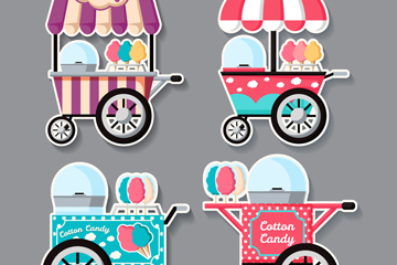4款创意棉花糖车贴纸矢量素材