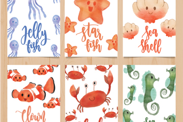 6款水彩绘海洋动物卡片矢量素材