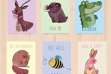 6款彩绘动物卡片矢量素材