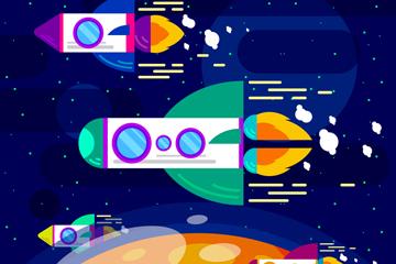 扁平化太空中飞行的火箭矢量素材