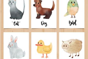 6款水彩绘动物卡片矢量素材