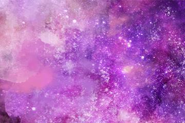 紫色水彩绘星系背景矢量素材