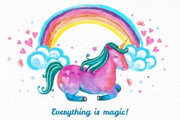 彩绘独角兽和彩虹矢量素材