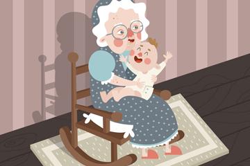 卡通怀抱婴儿的老妇人矢量素材