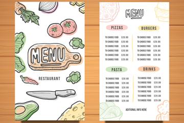 彩绘餐馆菜单正反面矢量素材