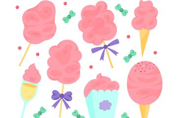 7款彩绘粉色棉花糖矢量素材