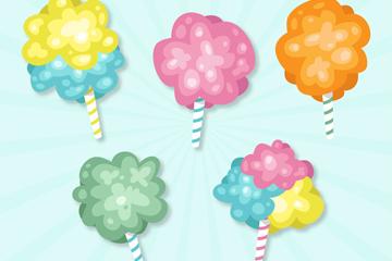 5款彩色棉花糖设计矢量素材