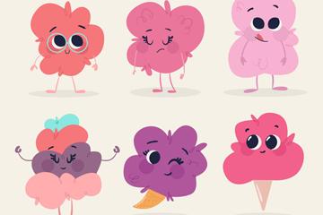 6款可爱表情棉花糖矢量素材