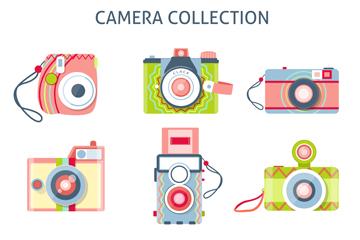 9款清新拼色照相机设计矢量图