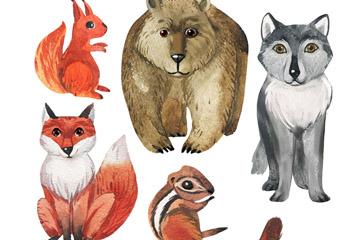 5款水彩绘动物设计矢量素材