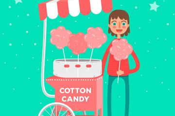 粉色棉花糖车和女子矢量素材