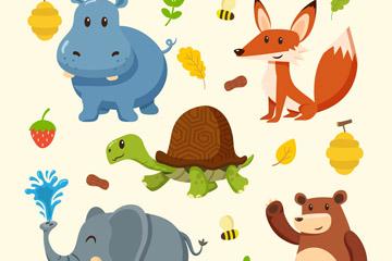 5款卡通动物和植物矢量素材