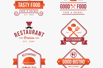 6款扁平化餐馆标志矢量素材