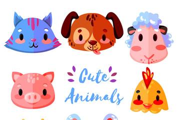 8款可爱卡通动物头像矢量素材