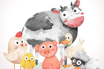水彩绘5只农场动物矢量素材