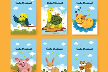6款可爱表情动物卡片矢量素材