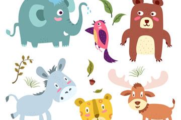 6款可爱动物设计矢量素材