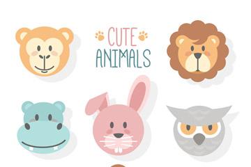 8款可爱动物头像设计矢量素材