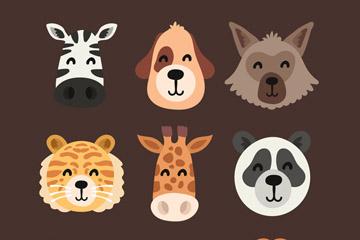 9款创意微笑动物头像矢量素材