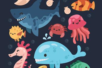 8款卡通海洋动物设计矢量素材