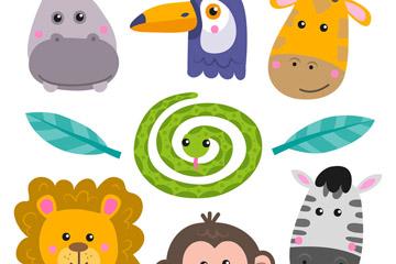 7款可爱动物头像矢量素材