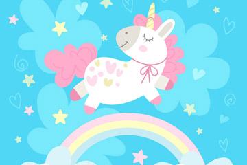 彩虹上的粉色独角兽矢量素材