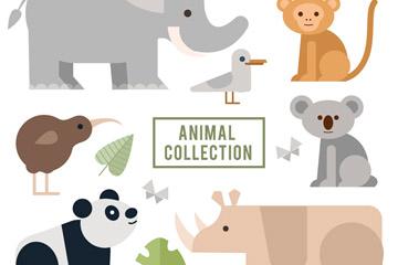 8款扁平化动物设计矢量素材