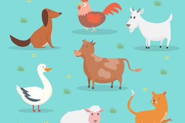 7款创意农场动物设计矢量素材