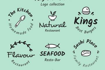 6款手绘餐馆标志矢量素材