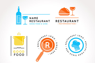 6款彩色餐馆标志矢量素材