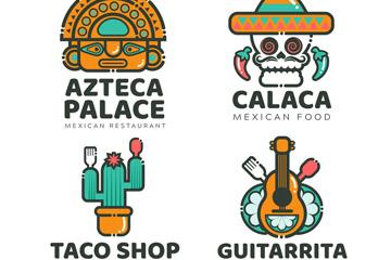 4款卡通墨西哥餐馆标志矢量素材