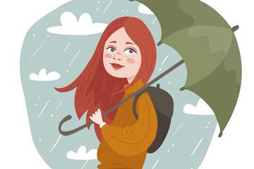 创意雨中撑伞的女子矢量素材